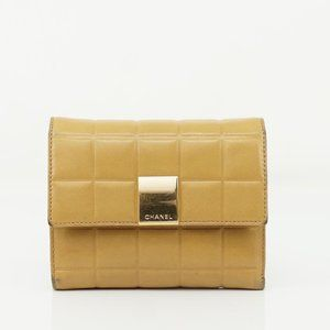 Auth Chanel Wallet Light Brown Leather #N4282H09